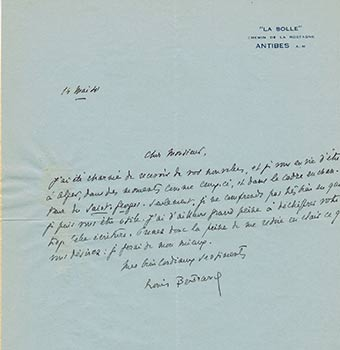 Autograph letter and card from Louis Bertrand to Vincent to Jacques Des Roches, (pseudonym of Jean-Gabriel Vacheron). Louis Bertrand, writer, recipient Jacques Des Roches, Jean-Gabriel Vacheron.