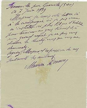 Letter from Maurice Donnay to Vincent to Jacques Des Roches, (pseudonym of Jean-Gabriel Vacheron). Maurice Donnay, writer, recipient Jacques Des Roches, 1854*-1945, Jean-Gabriel Vacheron.