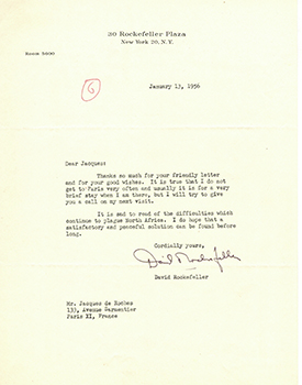 Letter from David Rockefeller to Vincent to Jacques Des Roches, (pseudonym of Jean-Gabriel Vacheron). David Rockefeller, recipient writer and Jacques Des Roches, writer, recipient Jacques Des Roches, Jean-Gabriel Vacheron.
