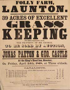 39 Acres of Excellent Grass Keeping. Folly Farm, Launton [original auction poster]. Jonas Paxton, George Castle.