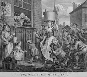 The Enraged Musician, a plate from The Works of William Hogarth from the Original Plates restored by James Heath, &c. William Hogarth.