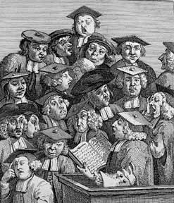 Scholars at a Lecture and The Company of Undertakers (or Quacks in Consultation), two plates from The Works of William Hogarth from the Original Plates restored by James Heath, &c. William Hogarth.