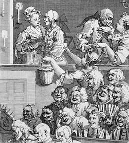 A Chorus of Singers (Subscription ticket for Midnight Modern Conversation) and The Laughing Audience, or A Pleased Audience (Subscription ticket for A Rake's Progress). William Hogarth.
