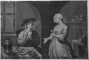Man smoking a pipe and being served a drink. Dutch Old Master.