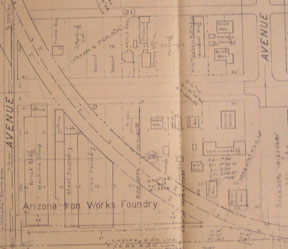 Station Plan of Phoenix, Arizona, West. Map. Southern Pacific Lines, Calif San Francisco.