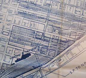 Industry Map of Portland, Oregon. Southern Pacific Lines, Calif San Francisco.