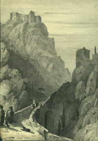 Mountain scene with horse,dog & ruin. Anonymous.