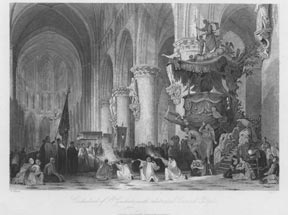 Interior with Pulpit of Cathedral of St. Gudule, Brussels. Capone after T. Allom.