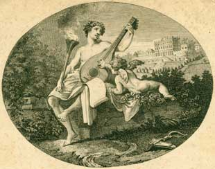 Musician's muse with Lyre. Engraver.