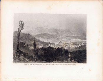 View of Hudson City and the Catskill Mountains. William H. Bartlett, artist, engraver A. L. Dick.