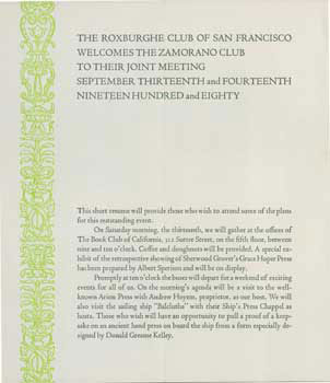 The Roxburghe Club of San Francisco Welcomes the Zamorano Club to Their Joint Meeting September Thirteenth and Fourteenth Nineteen Hundred and Eighty. Roxburghe Club of San Francisco, Zamorano Club of Los Angeles, Arion Press, Andrew Hoyem.