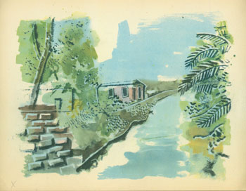 River Scene With Palm Trees. 20th Century European Artist.