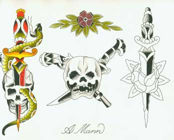 Original Tattoo designs. A. Mann.