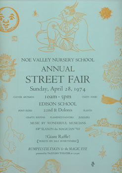 Noe Valley Nursery School Annual Street Fair Sunday April 28 1974
