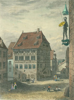 Street Scene With Tudor Timber-Framed Building at Center, Figure In Full Plate Armor Holding a Spear and Shield Emblazoned with St. George's Cross (as used in the flags of England). 19th Century English Artist.