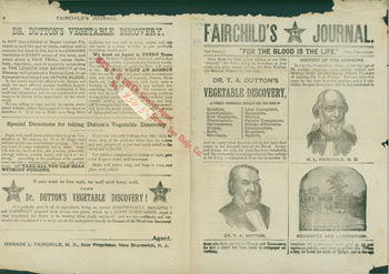 """Fairchild's Journal. New Series. """"For The Blood Is The Life."""" Dr. T. A. Dutton's Vegetable Discovery. Horace L. Fairchild."""