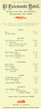 American Institute of Accountants: a Memento of the Fifty-Second Annual Convention Banquet. Reprint of Bill Of Fare menu served at El Fairmonte Hotel, September 21, 1849. Grabhorn Press, American Institute of Accountants, El Fairmonte Hotel.