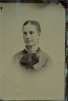 Glass Plate Negative, Woman in formal portrait, hair split down middle, dark scarf tied at collar, earrings. 19th Century American Photographer.