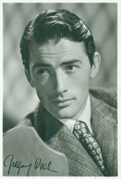 Gregory Peck. Print of a signed photograph (not an original autograph). 20th Century American Photographer.