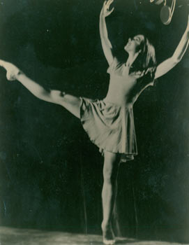 Black & White Photograph of dancer on the set of Carousel. 20th Century American Photographer.