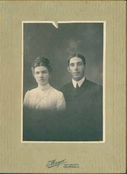 Black & White Photograph of couple in formal wear. Mayer, Ohio Photographer in Columbus.