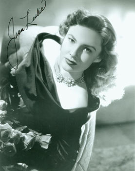 Autographed Black and White Photograph of American Actress Joan Leslie. Mid 20th Century Hollywood Photographer.