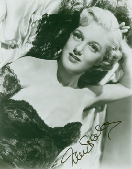 Autographed Black and White Photograph of American Actress Jan Sterling. Mid 20th Century Hollywood Photographer.