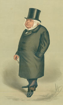 John Bright. Chromolithograph of John Bright, from Vanity Fair, April 6, 1889. Vanity Fair, Day Vincent Brooks, Lithographers Son, UK London.