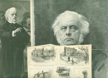 The Late Mr. John Bright: in the House Commons, Former Residences, & an engraving based on a photograph. March 27, 1889. The Illustrated London News.