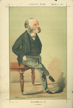 """Statesmen, No. 107. """"Newspapers."""" The Right Hon. W. H. Smith, M.P., First Lord of the Treasury. March 9, 1872. Vanity Fair, UK London."""