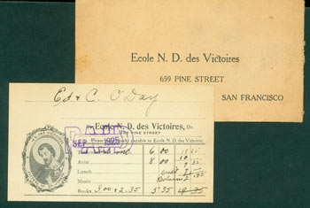 Receipt to Edward & C. O'Day, Sept. 1, 1925, from Ecole Notre Dame des Victoires. Edward F. O'Day, Ecole Notre Dame des Victoires, San Francisco.