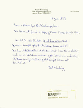 Hand-written letter with original autograph by collector, professor and author Carl Woodring, addressed to Peter Howard, of Serendipity Books, Berkeley, CA. Carl Woodring, Peter Howard, Serendipity Books.