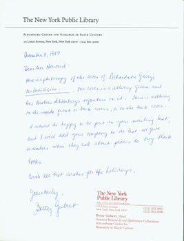 Hand-written letter with original autograph by Betty Gubert (NY Public Library), addressed to Peter Howard, of Serendipity Books, Berkeley, CA. Betty Gubert, Peter Howard, NY Public Library, Serendipity Books.