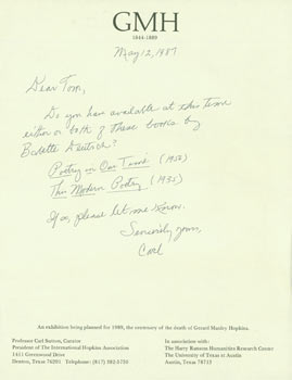 ALS Carl Sutton to Tom Goldwasser, May 12, 1987. Inquiry regarding books related to the Gerard Manley Hopkins exhibition being planned for the Harry Ransom Center in 1989. Carl Sutton, Tom Goldwasser, Dallas International Hopkins Association, TX, Berkeley Serendipity Books, CA.