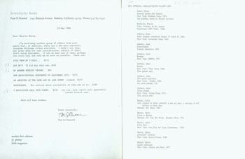 SFU (Simon Fraser University) Special Collections Want List, with copy of related Serendipity Books memo from Tom Goldwasser, May 19, 1986. Charles Watts, Peter Howard, Tom Goldwasser, Simon Fraser University, Berkeley Serendipity Books, CA.