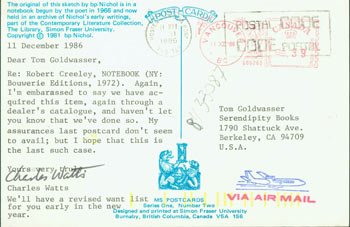 Post Card TLS Charles Watts to Peter Howard & Tom Goldwasser, December 11, 1986. Charles Watts, Peter Howard, Tom Goldwasser, Simon Fraser University, Berkeley Serendipity Books, CA.