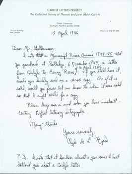 ALS Clyde de L. Ryals to Peter Howard & Tom Goldwasser, April 15, 1985. Clyde de L. Ryals, Peter Howard, Tom Goldwasser, Duke University Carlyle Letters Project, Berkeley Serendipity Books, CA.