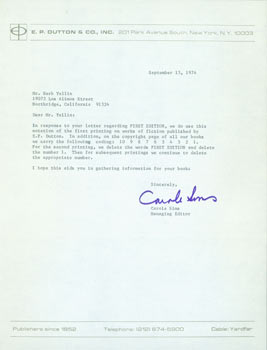TLS from Carole Sims (of E. P. Dutton) to Herb Yellin, Lord John Press. RE: first editions.September 13, 1974. Carole Sims, Herb Yellin, E. P. Dutton.
