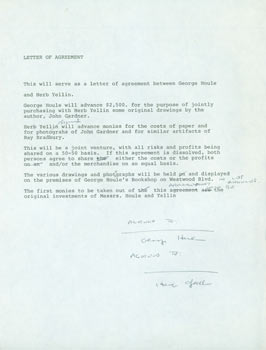 Draft of contract between George Houle and Herb Yellin in order to purchase original drawings by author John Gardner. Herb Yellin.