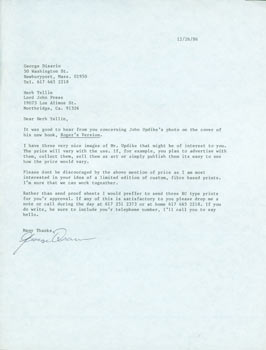 Typed letter, signed, George Disario to Herb Yellin, December 26, 1986. RE: John Updike. George Disario.
