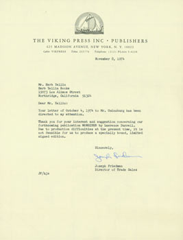 Typed letter, signed, Joseph Friedman (Viking Press) to Herb Yellin. November 8, 1974. RE: Lawrence Durrell. Joseph Friedman, Viking Press.