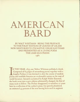 Prospectus for American Bard By Walt Whitman. Being the Preface to the First Edition of Leaves Of Grass Now Restored to its Native Verse Rhythms and Presented as a Living Poem. Lime Kiln Press, Walt Whitman, William Everson, printer.