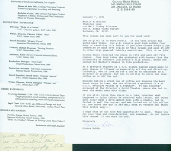 TLS Gianna Maria Rubin to Martin Mickelson (Disney), January 7, 1991. Includes resume and personal letter to Herb Yellin. Gianna Maria Rubin.
