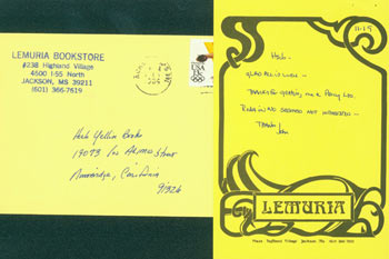 ALS on postcard signed by John Evans to Herb Yellin RE: Walker Percy. November 19, 1984. Promotional post card hand-addressed by Evans to Yellin also present. Lemuria Books John Evans.