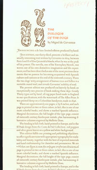 The Dialogue Of The Dogs, by Miguel de Cervantes. (This is the prospectus for a book, not the book itself.). Allen Press, CA Kentfield.