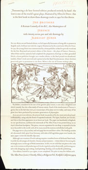 The Brothers, A Roman Comedy of 160 B.C., the Masterpiece of Terence, With Twenty-Seven Pen and Ink Drawings, by Albrecht Durer. (This is the prospectus for a book, not the book itself.). Allen Press, Terence, Albrecht Durer, CA Kentfield, illustr.