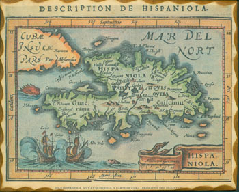 Hispaniola. Modern Reproduction of a hand-colored miniature map of Haiti & the Dominican Republic embellished with ships and monsters, originally published in Amsterdam, 1616. After Petrus Bertius, Modern Reproduction.