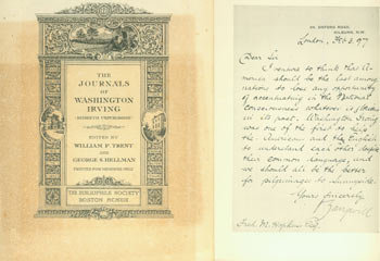 """Prospectus for The Journals Of Washington Irving (Hitherto Unpublished). First Edition. (This is a prospectus for a book, not the book itself). Bibliophile Society, Washington Irving, William P. Trent, George S. Hellman, Macdonald, """"The Council"""", engrav."""