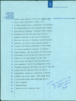ALS Charles Michaud to Herb Yellin, brief post script on a page with his typed review of John Updike's Memories of the Ford Administration. Charles Michaud, Turner Free Library.