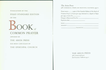 Publication Of the Folio Standard Edition of the Book Of Common Prayer Offered by the Arion Press Has Been Cancelled By the Episcopal Church. November 1, 1982. Arion Press, Andrew Hoyem.
